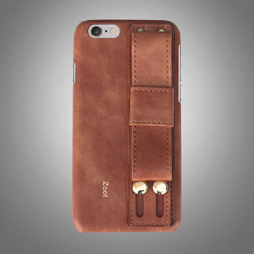 Leatherette Back Cover with Strap Brown
