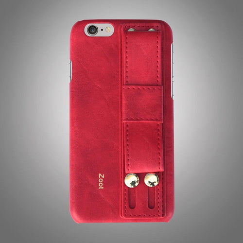 Leatherette Back Cover with Strap Red