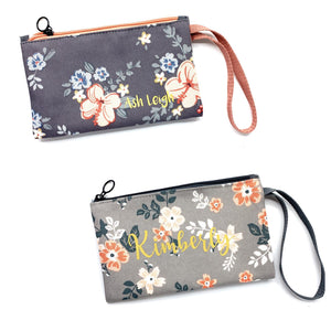 Zipped pouch - Light grey floral (strap)