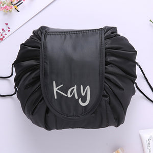 Personalised Drawstring Make Up Pouch (Black)