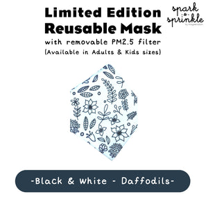 Alcan Care - Reusable Mask (Black & White - Daffodils) LIMITED EDITION