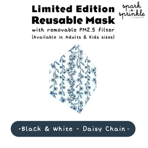 Alcan Care - Reusable Mask (Black & White - Daisy Chain) LIMITED EDITION