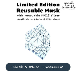 Reusable Mask (Geometric - Black & White) LIMITED EDITION
