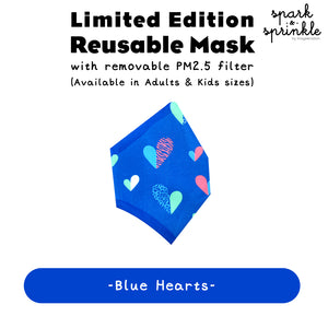 Reusable Mask (Blue Hearts) LIMITED EDITION