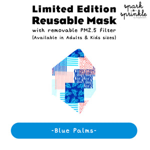Reusable Mask (Blue Palms) LIMITED EDITION