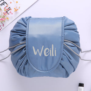 Personalised Drawstring Make Up Pouch (Blue Gray)