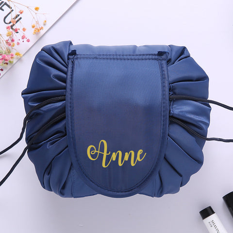 Personalised Drawstring Make Up Pouch (Dark Blue)