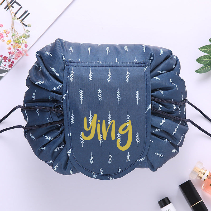 Personalised Drawstring Make Up Pouch (Feather)