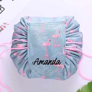 Personalised Drawstring Make Up Pouch (Flamingo)