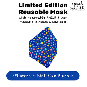 Alcan Care - Reusable Mask (Flowers - Mini Blue Floral) LIMITED EDITION