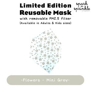Reusable Mask (Flowers - Mini Grey) LIMITED EDITION