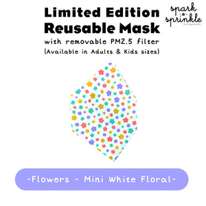 Reusable Mask (Flowers - Mini White Floral) LIMITED EDITION