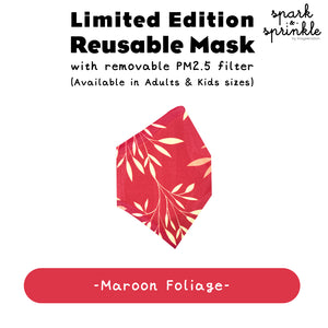Reusable Mask (Foliage - Maroon) LIMITED EDITION