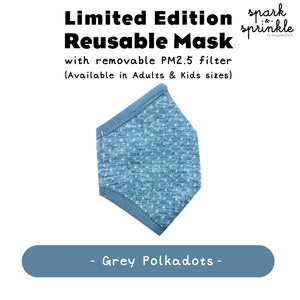 Alcan Care -  Reusable Mask (Grey Polkadots)