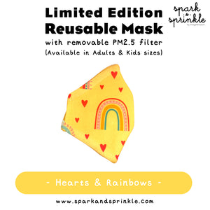 Reusable Mask (Hearts & Rainbows) LIMITED EDITION