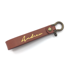 Leather Keychain - Light Brown