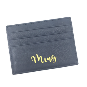 Leather Card Holder - Blue