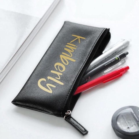 Leather Pencil Case - Black