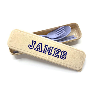 Personalised Wheat Straw Utencils Set (Blue)