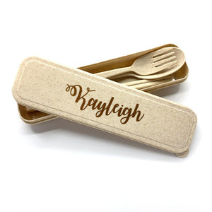 Personalised Wheat Straw Utencils Set (Beige)