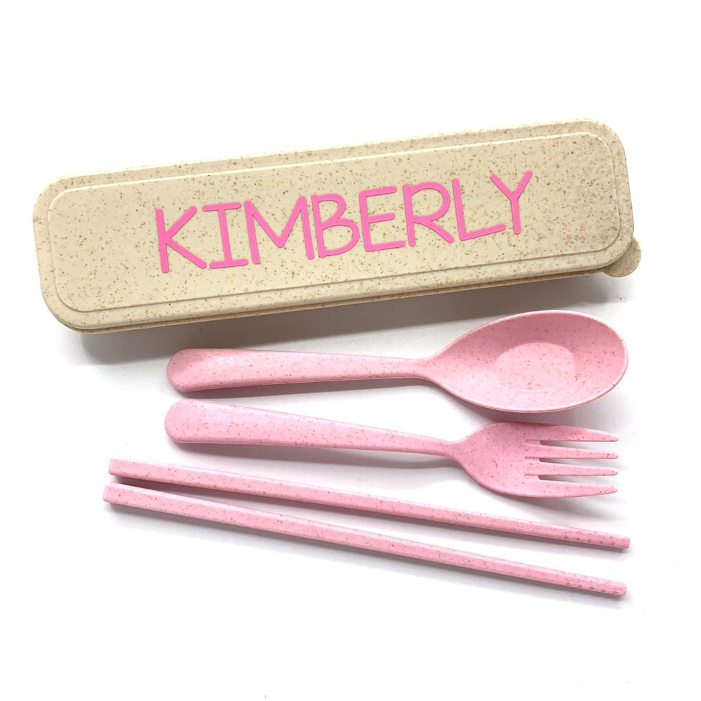 Personalised Wheat Straw Utencils Set (Pink)