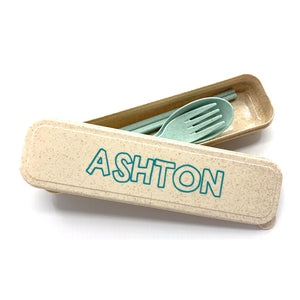 Personalised Wheat Straw Utencils Set (Green)