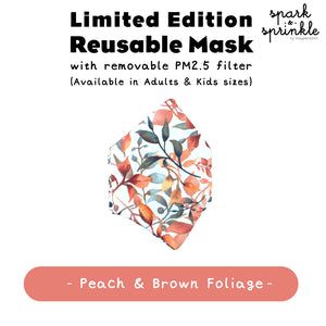 Reusable Mask (Foliage - Peach & Brown) LIMITED EDITION