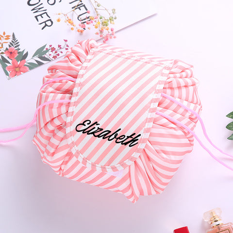 Personalised Drawstring Make Up Pouch (Peach Stripes)