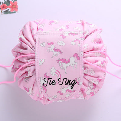 Personalised Drawstring Make Up Pouch (Pink Unicorn)