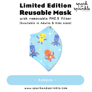 Alcan Care - Reusable Mask (Blue Robots) LIMITED EDITION