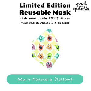 Reusable Mask (Scary Monsters - Yellow) LIMITED EDITION