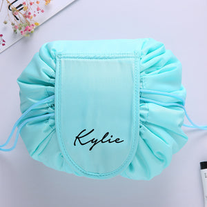 Personalised Drawstring Make Up Pouch (Tiffany Green)
