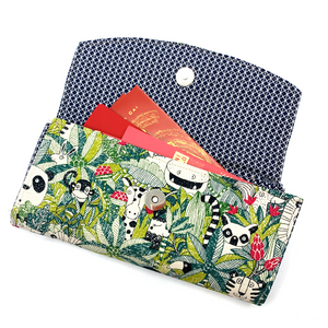 Handsewn Red/Green Packet Organiser - Jungle Animals