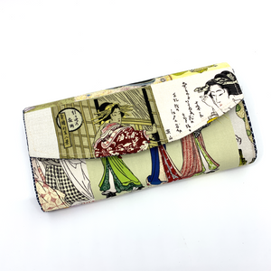 Handsewn Red/Green Packet Organiser - Japanese Geisha