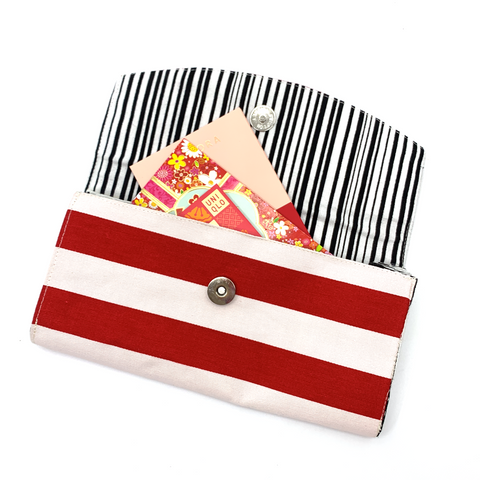 Handsewn Red/Green Packet Organiser - Red & White
