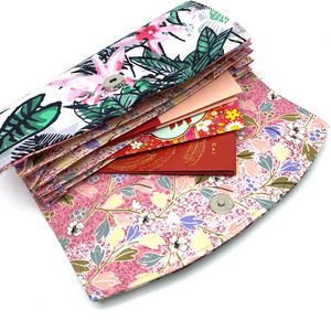 Handsewn Red/Green Packet Organiser - Flower Paradise (White)