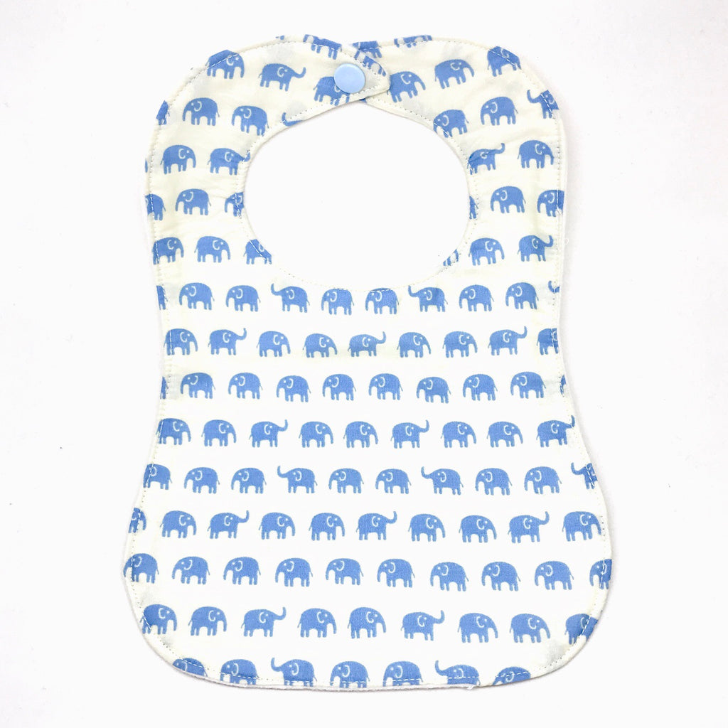 Handmade Bib - Elephant March (Light Blue)