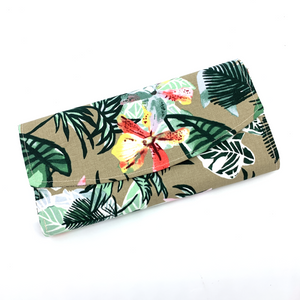 Handsewn Red/Green Packet Organiser - Flower Paradise (Brown)