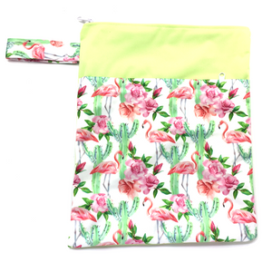 Large Wetbag (Strip) - Flamingoes & Roses