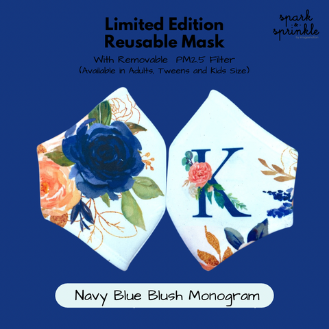Reusable Mask (Navy Blue Blush Monogram) LIMITED EDITION