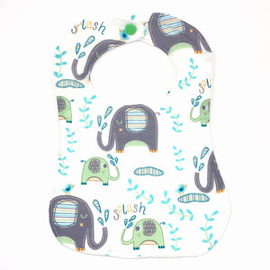 Handmade Bib - Elephant Splash (Green)