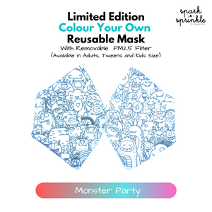 Colour Your Own Reusable Mask - Monster Party