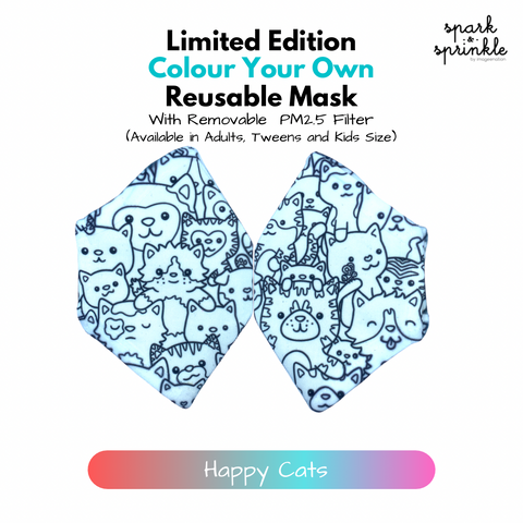 Colour Your Own Reusable Mask - Happy Cats