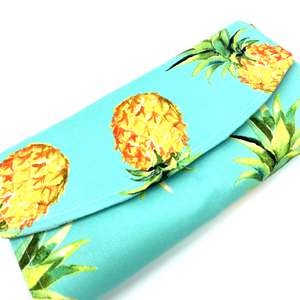 Handsewn Red/Green Packet Organiser - Lucky Pineapples (Blue)