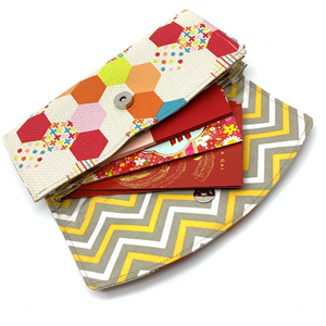 Handsewn Red/Green Packet Organiser - Playful Pentagon