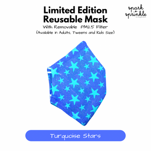 Reusable Mask (Turquoise Stars) LIMITED EDITION