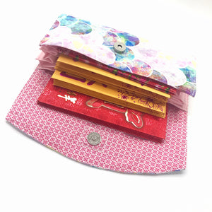 Handsewn Red/Green Packet Organiser - Pink Mermaid