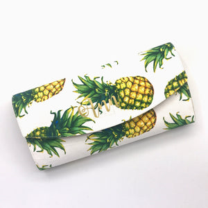 Handsewn Red/Green Packet Organiser - Lucky Pineapples (White)