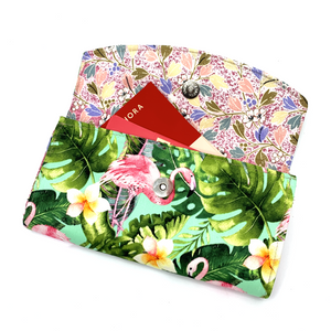 Handsewn Red/Green Packet Organiser - Flamingoes in Paradise