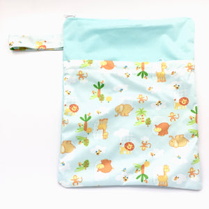 Large Wetbag (Strip) - Green Zoo